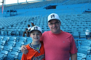 Ollie Pudvar, alongside his father Tim at the Estadio Latinoamericano.