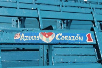 A note painted on a seat declaring a fan's love for the Havana Industriales (blue heart in English).