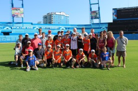 The team poses for a photo in the outfield of the Estadio Latinoamericano, home of the Havana Industriales and the Cuban National Team. The stadium, which seats 55,000, is the largest in the country, and was home to the baseball game which President Barack Obama attended.