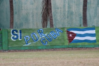 A sign in a outfield of Playa Stadium, where the Vermonters play their games against Cuban teams.