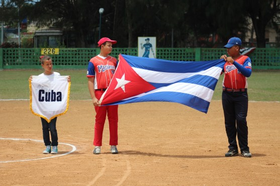 The Cuban flag is presented during pregame ceremonies.