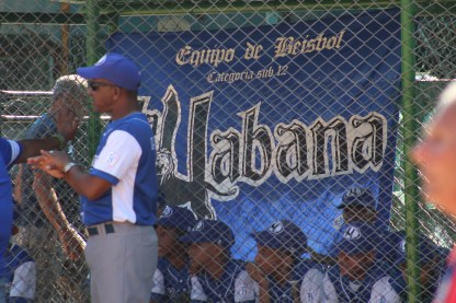 A banner in the dugout for La Habana, the Havana provincial team.