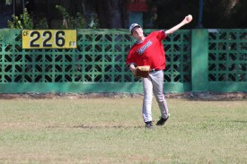 Tate Agnew makes a throw home during the skills competition.
