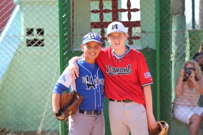 Tate Agnew (right) poses with the winner of the outfield portion of the skills competition.
