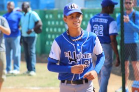 A happy player from La Habana after winning a round of the pre-game skills competition.