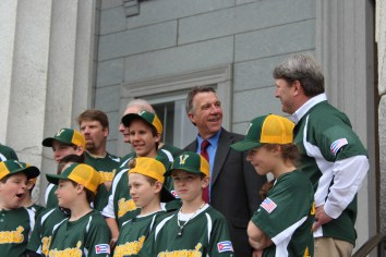 Lieutenant Governor Phil Scot chats with members of the Vermont team that travelled to Cuba this April.