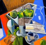 """""""Green Apples And Water Pitcher"""" 16"""" x16"""" oil and collage on canvas"""
