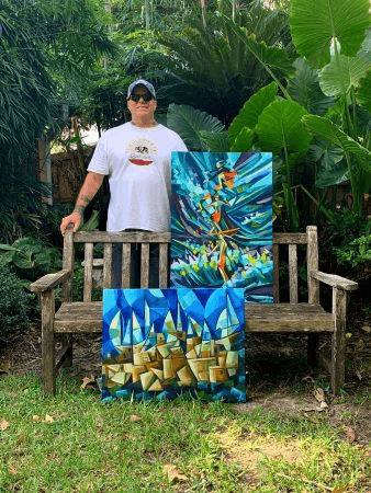 Tim Lincoln is a Houston artist and landscape designer. His current medium consists of oils,collage and mixed media. Landscape design has been a constant influence. Consciously aware of natures geometrics, having designed many notable gardens in the Houston and Galveston metropolitan areas.