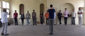 Director Charles Chemin works with singers first day of rehearsal at Teatrico Lyrico, Havana.