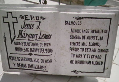Epitaph of Jesuito in the cemetery of Camajuani where he is buried
