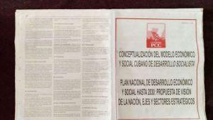 """Análisis de los documentos como parte del proceso de actualización política-económica y social en Cuba: Conceptualización del Modelo Económico y Social Cubano de Desarrollo Socialista""""; """"Bases del Plan Nacional de Desarrollo Económico y Social hasta el 2030: Visión de la Nación, Ejes y Sectores Estratégicos""""; y """"Nuevas modificaciones a los Lineamientos de la Política Económica y Social del Partido y la Revolución""""."""