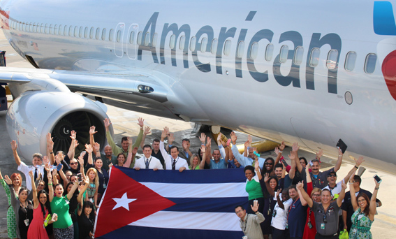 Primer vuelo de American Airlines parte a Cuba desde Miami (WSVN 7News)