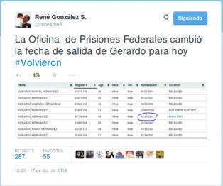 Momentos en que @rene4forthe5 anunciaba la liberación de Ramón, Gerardo y Antonio