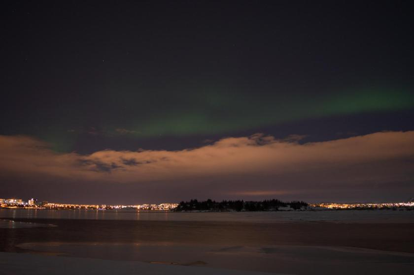 The Northen Lights above Reykjavik