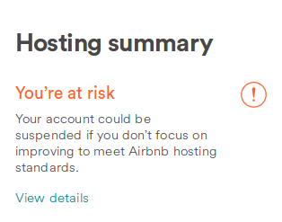 being told off by airbnb