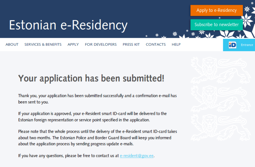 estonian e-residency conformation