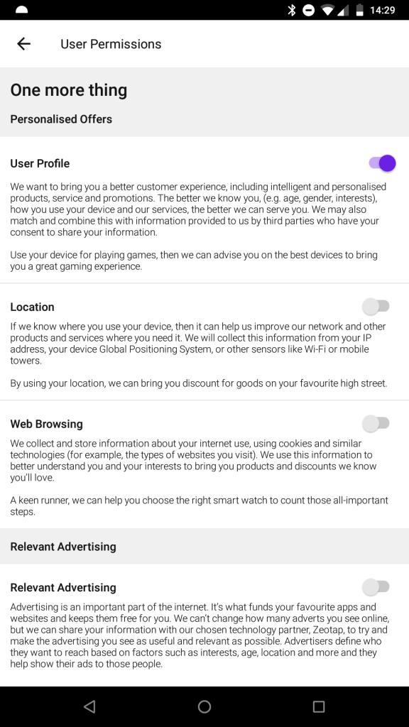 3 mobiles optin privacy