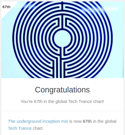 67th in the tech trance chart