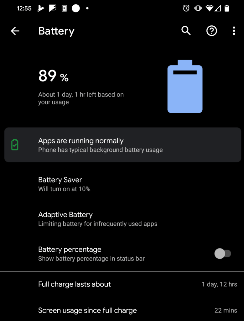 89% battery on my Pixel4