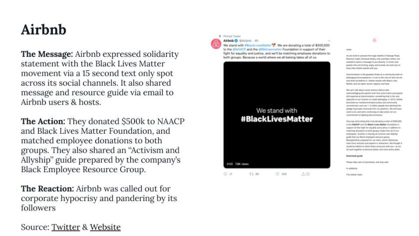 Black lives matter brand responses from airbnb
