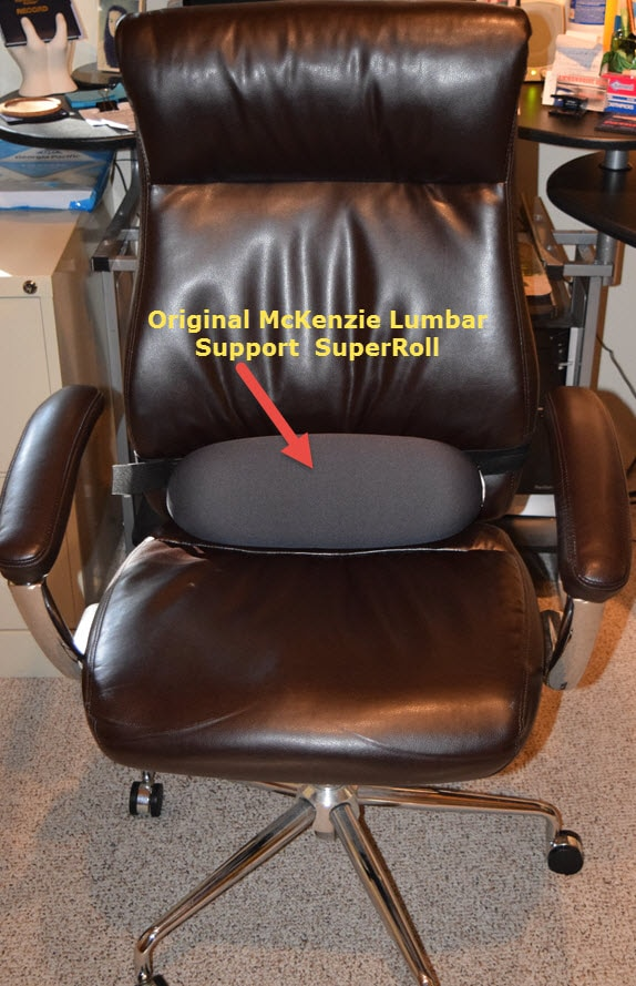 office chair back pain brown leather tub with footstool enhance lumbar support the original mckenzie super roll - cubiclebliss.com