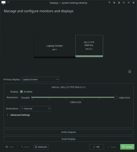 USB to DVI DisplayLink KDE Plasma Configuration.png