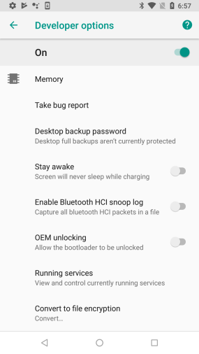 Nexus 5X-Developer Options