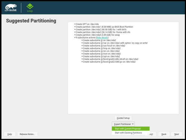 openSUSE Leap Install-07-Suggested Paritioning