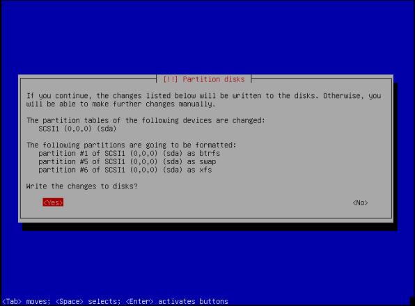ParrotOS-18-Partition Disk Confirm