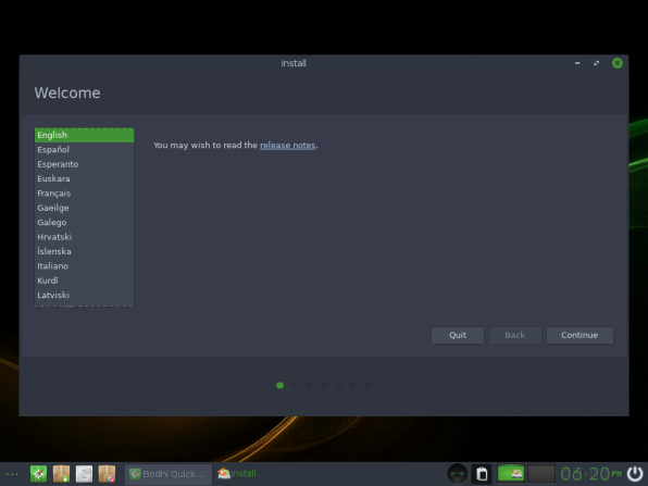 Bodhi Linux 8 Installation Welcome