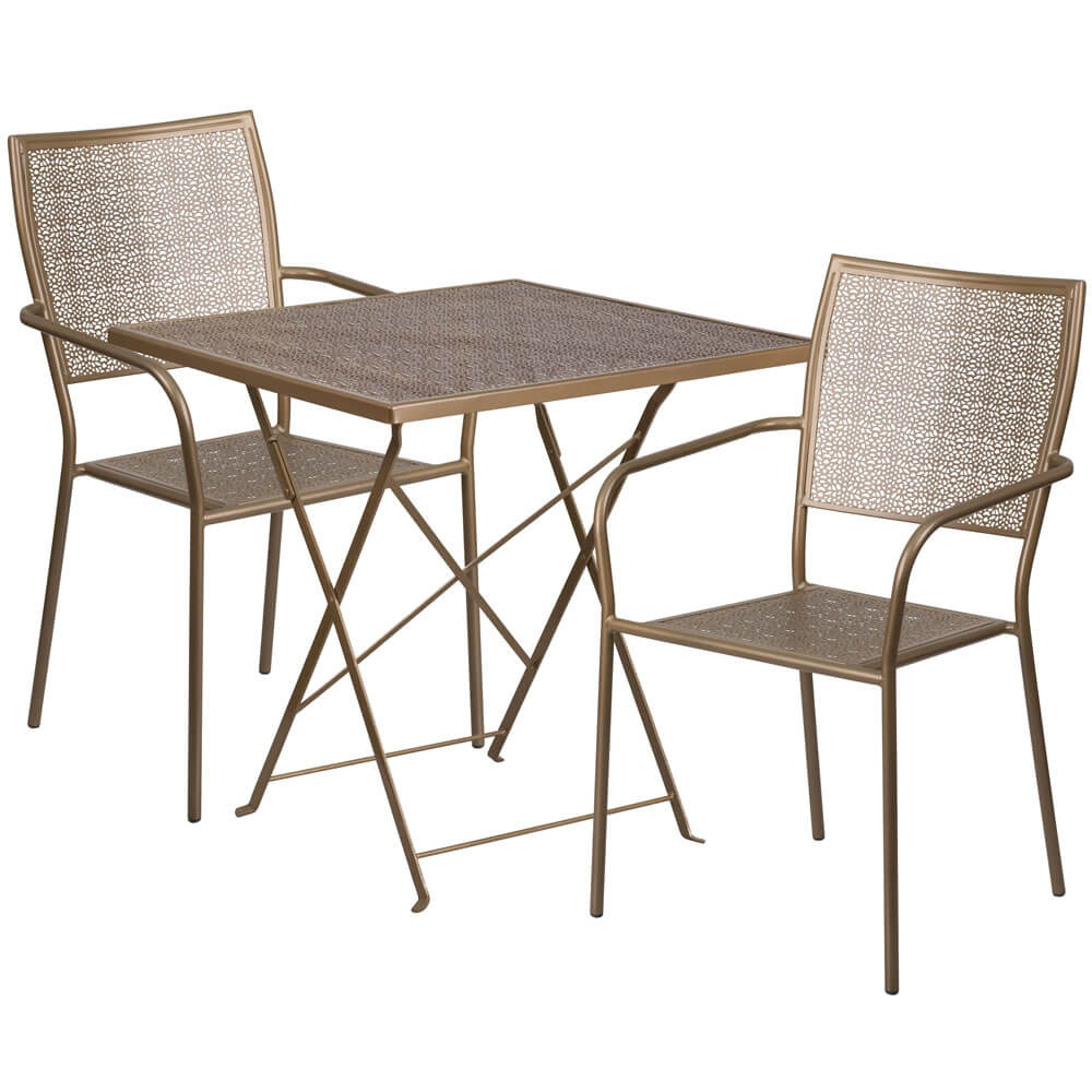 Metal Bistro Table And Chairs Panini 28 Inch Metal Bistro Table Set With 2 Chairs Foldable