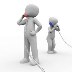 Two men talking in phone