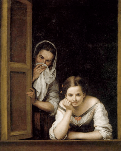 Two Women at a Window. Bartolome Esteban Murillo. c. 1670. Oil on Canvas