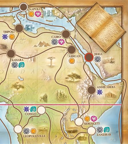 Fragmento del tablero (fotografía de boardgamegeek.com)