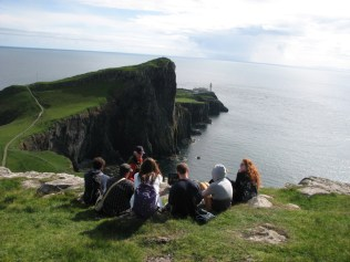 Class overlooking Neist Lighthouse, Isle of Skye