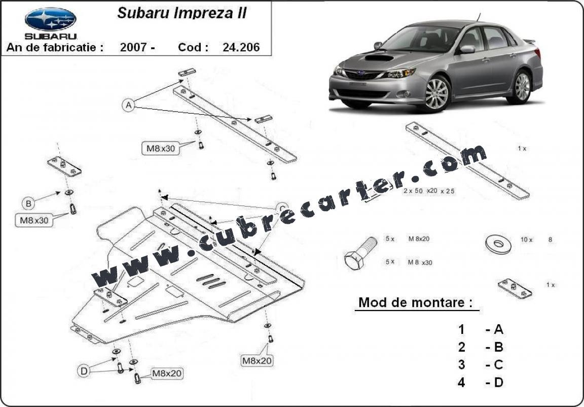 Cubre carter metalico Subaru Impreza gasolina