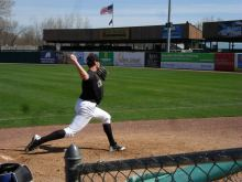 Tyler Skulina warms up before his start on 4-23-14