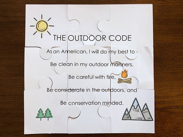 Cub Scout Outdoor Code Puzzle Complete