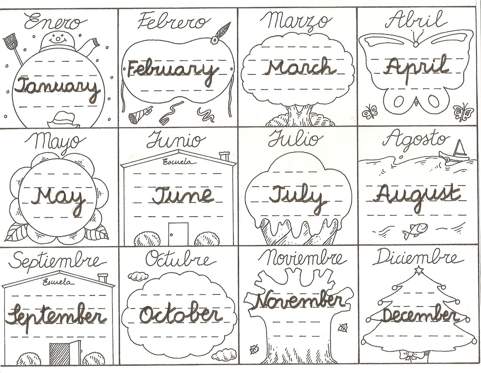 Meses Free Coloring Pages