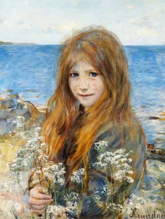 Hans_Olaf_Heyerdahl_-_Little_girl_on_the_beach