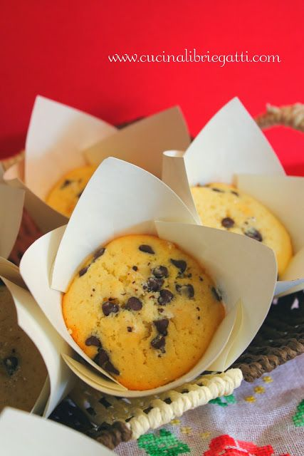 Muffin con gocce di cioccolato e cuore di nutella