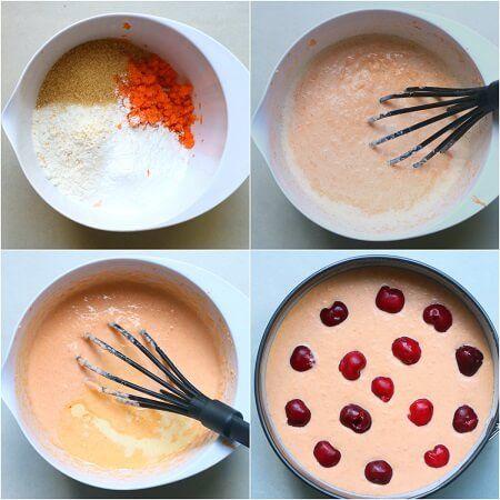 Torta con ciliegie e carote