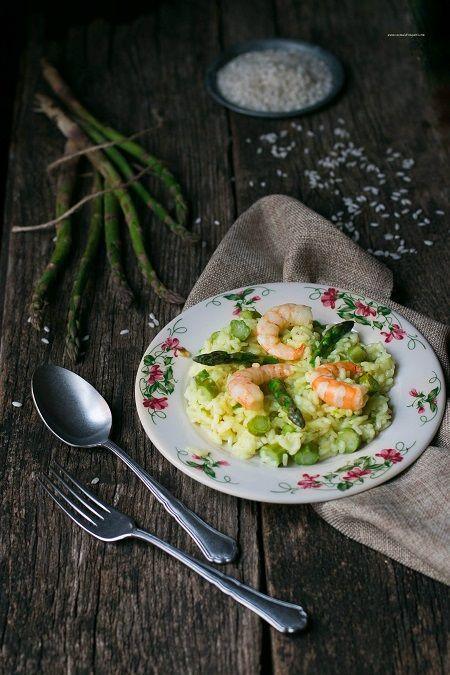 risotto agli asparagi e gamberetti