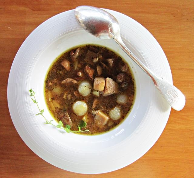 Porcini,cipolline e patate, una zuppa d'autunno