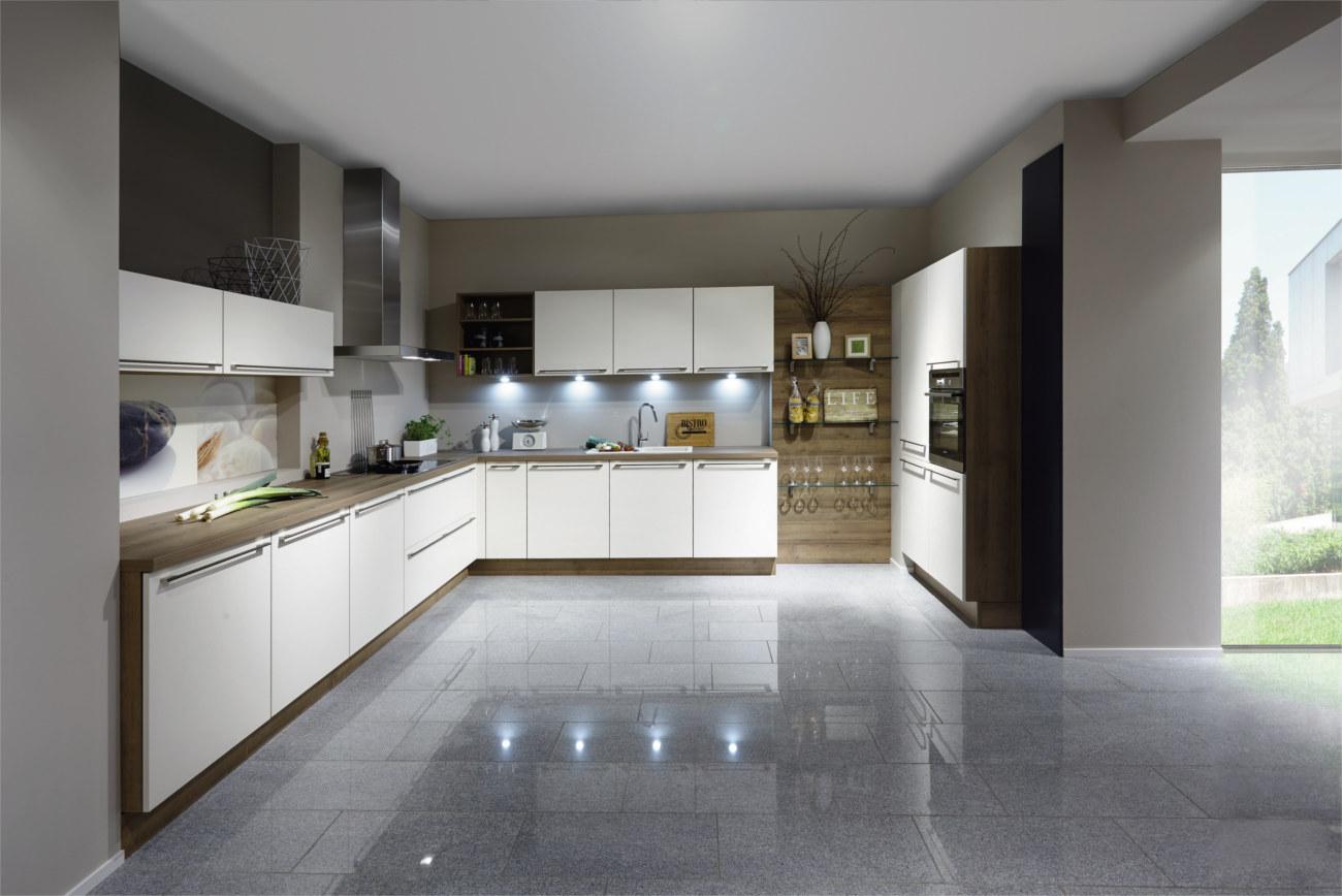Cucina Moderna Bianca E Legno
