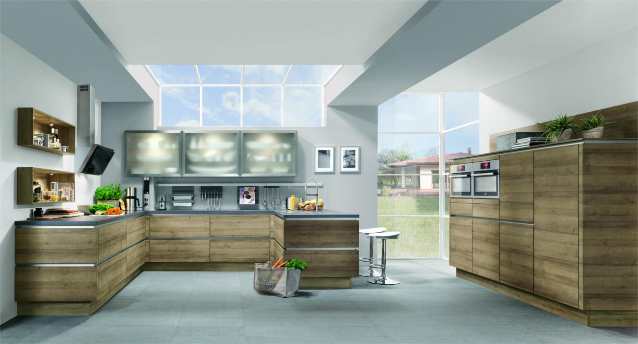 Cucine ad angolo moderne piano di lavoro e capienza