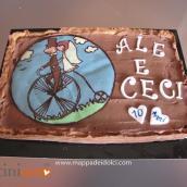 Torta anniversario sposi con decalcomania al cioccolato e torte compleanno