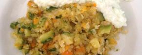 Riso shirataki con verdure e tzatziki