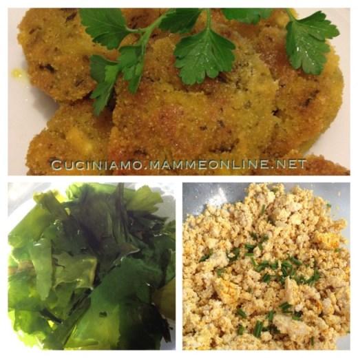 Polpette di tofu, verdure e alga wakame