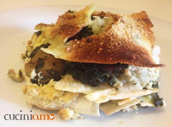 Lasagnetta di pane Carasau vegetariana